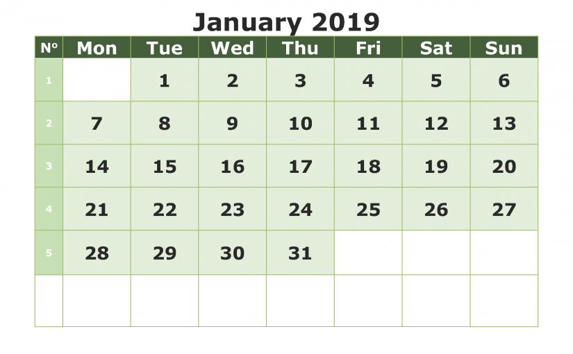 Blank January 2019 Calendar PDF