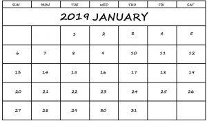 Calendar 2019 January