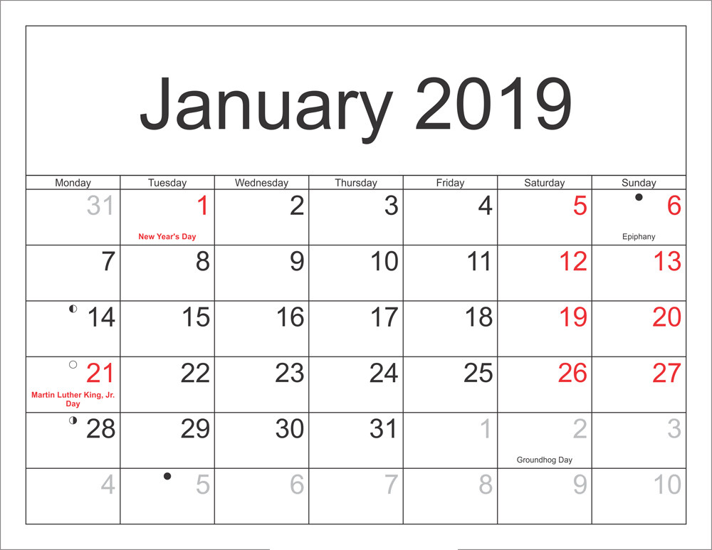 Calendar For January 2019 With Holidays