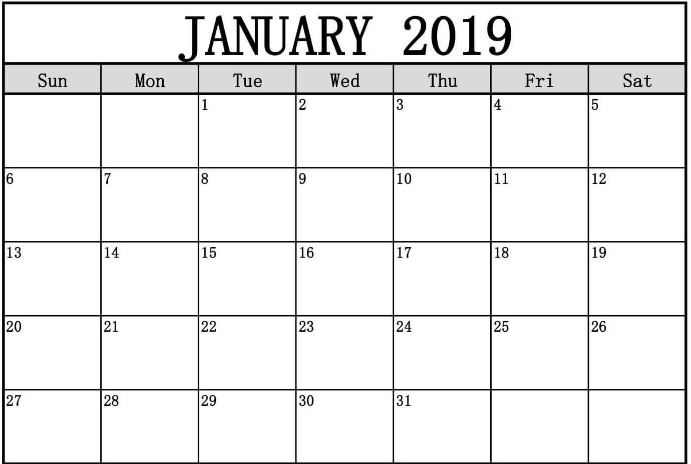 Calendar For January 2019