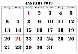 Calendar January 2019 Large Number