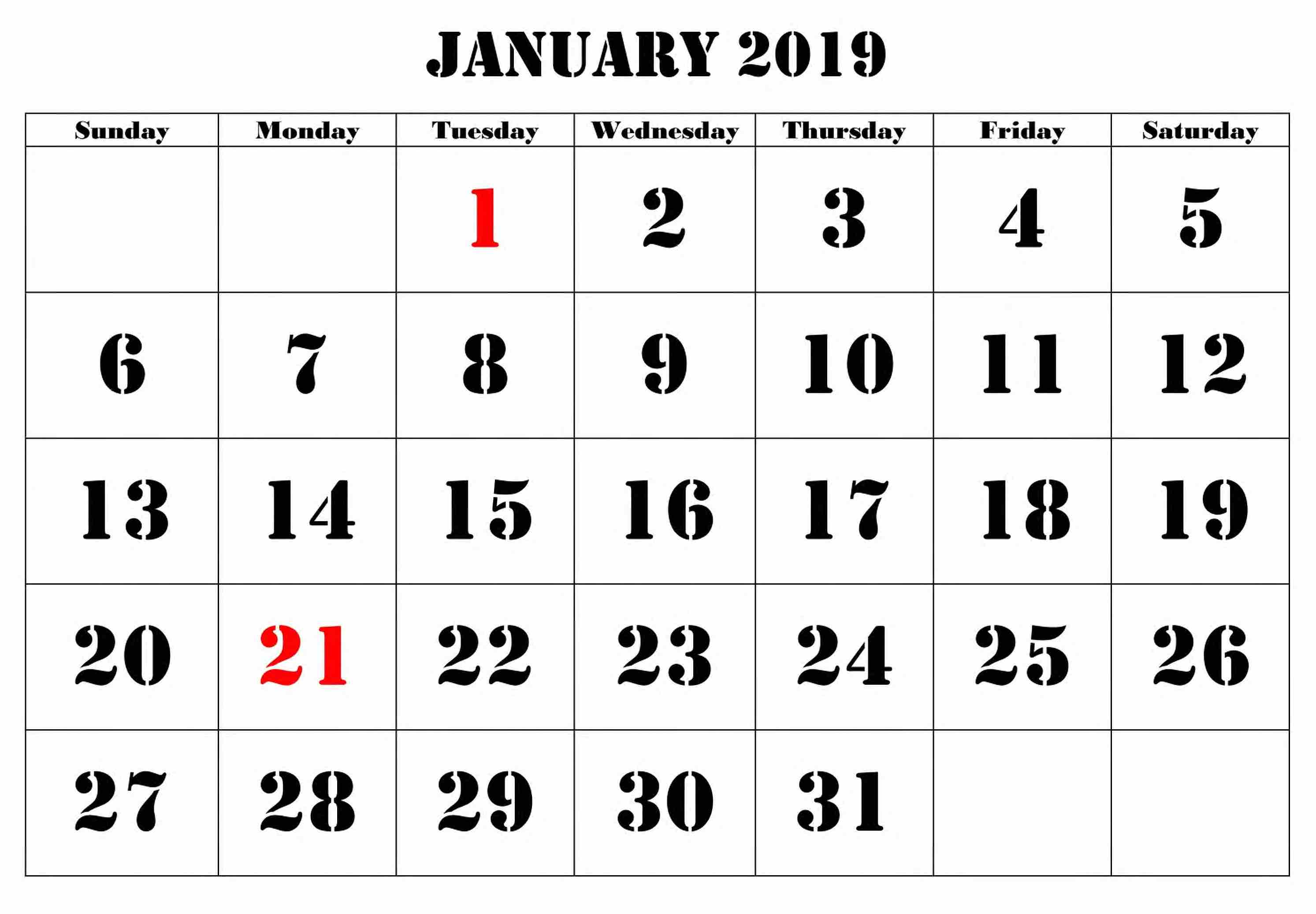 Calendar January 2019 Large Number