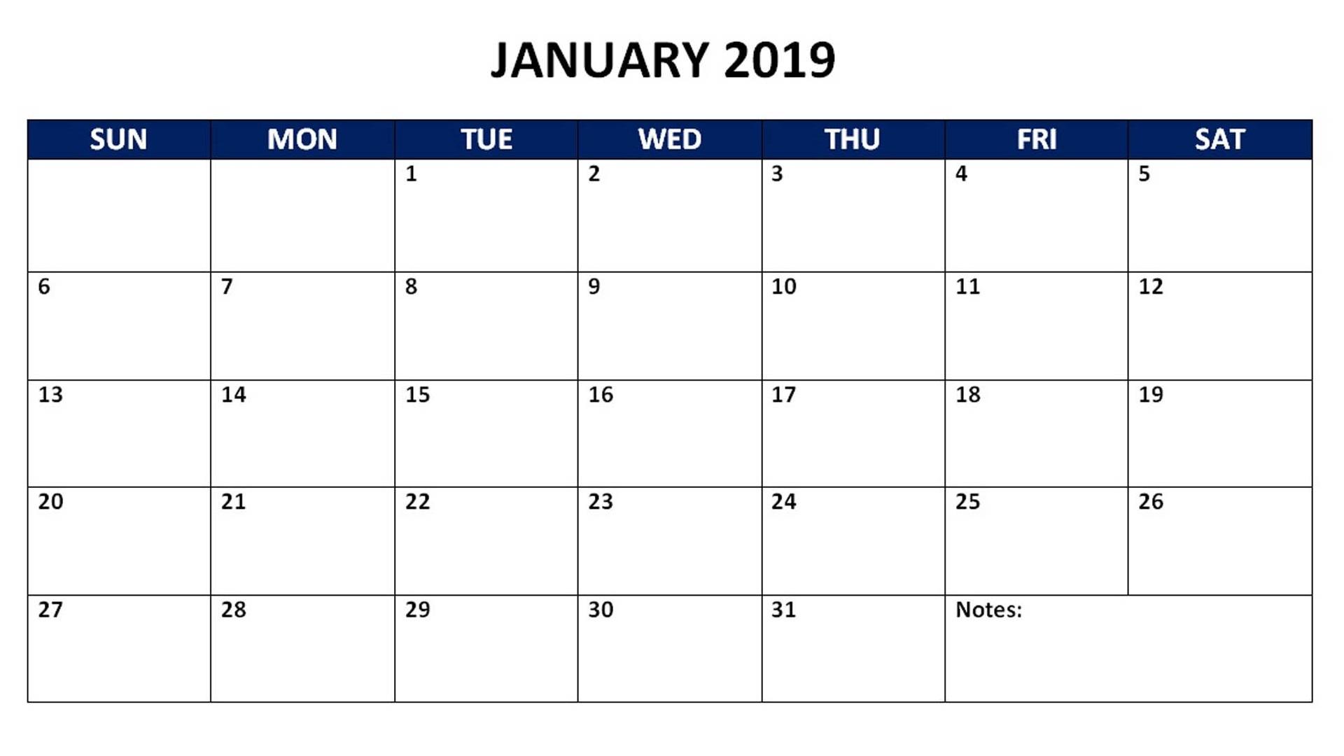 Calendar January 2019 PDF