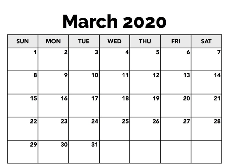 Calendar March 2020 Template To Print