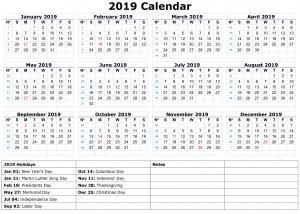 Calendar Template 2019