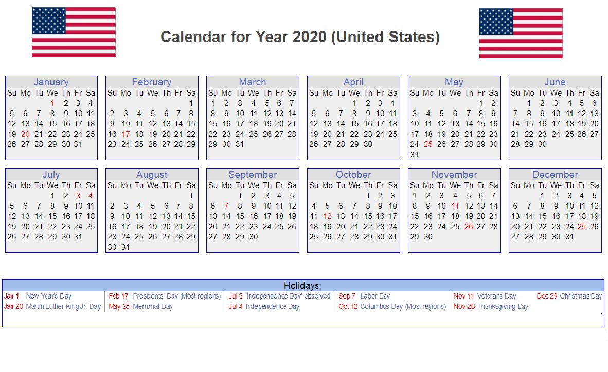 Calendar for USA 2020