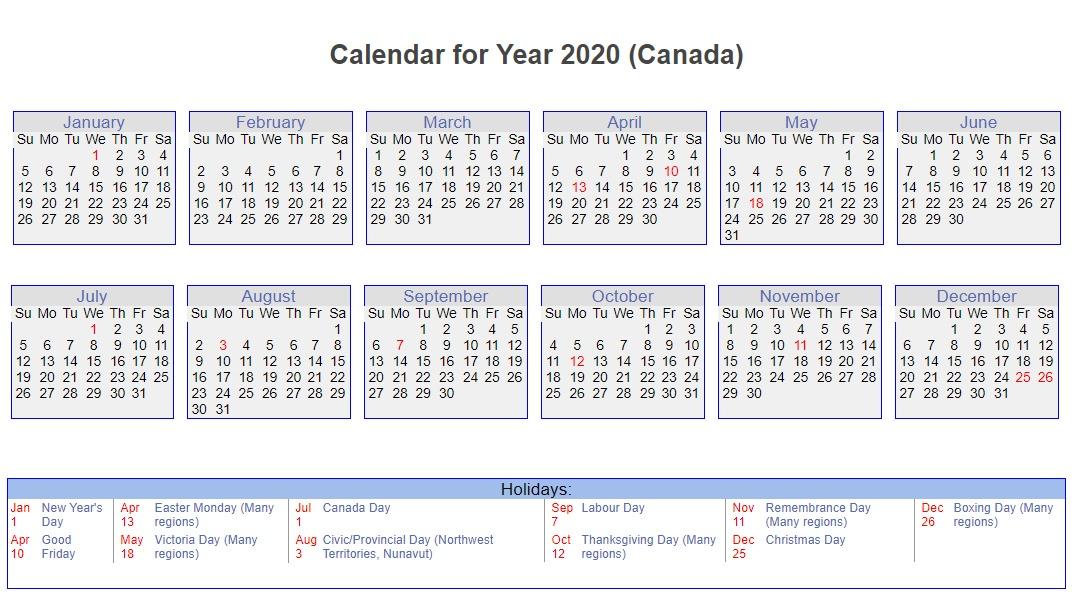 Canada 2020 Calendar with Holidays