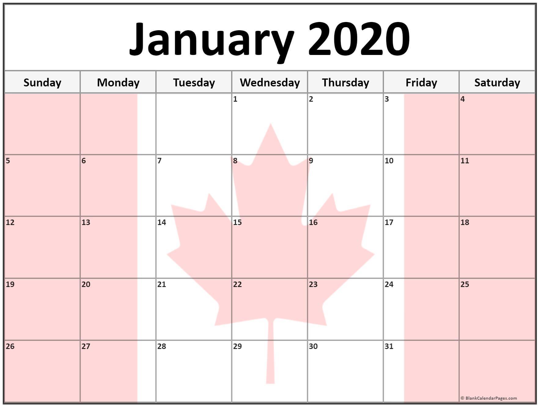 Canada Calendar January 2020