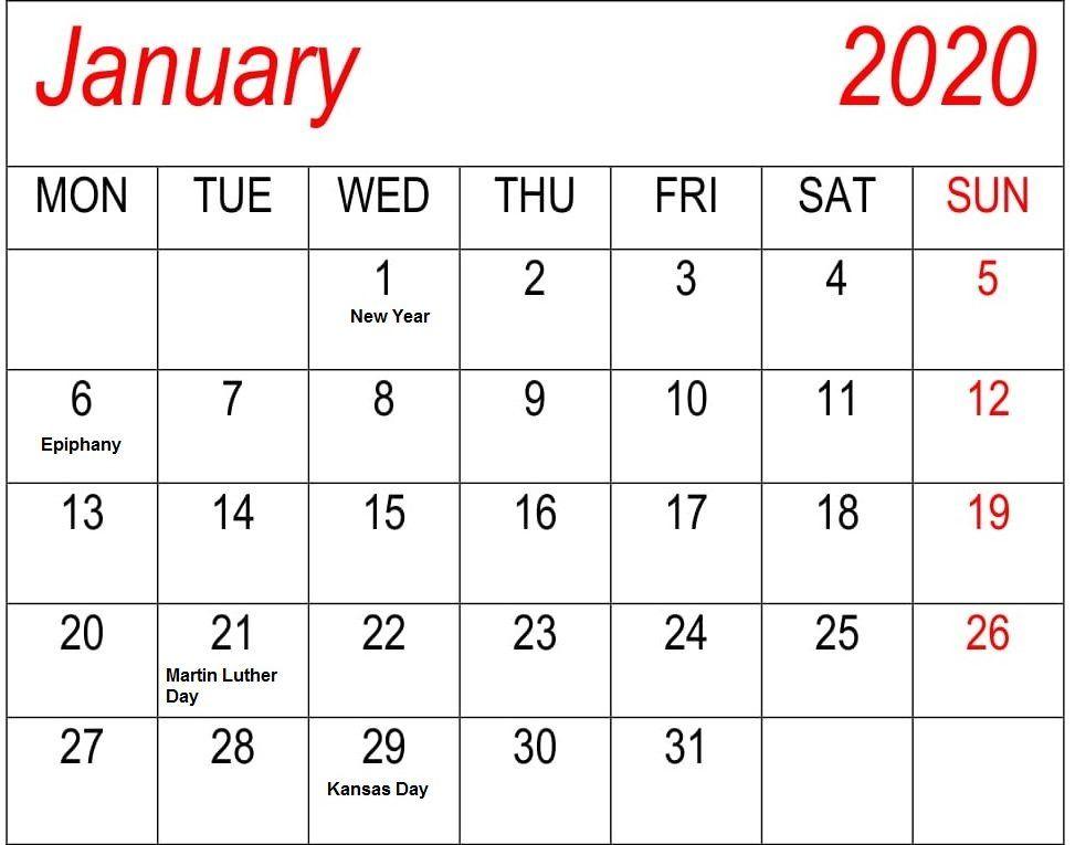 Canada Federal Holidays Calendar January 2020