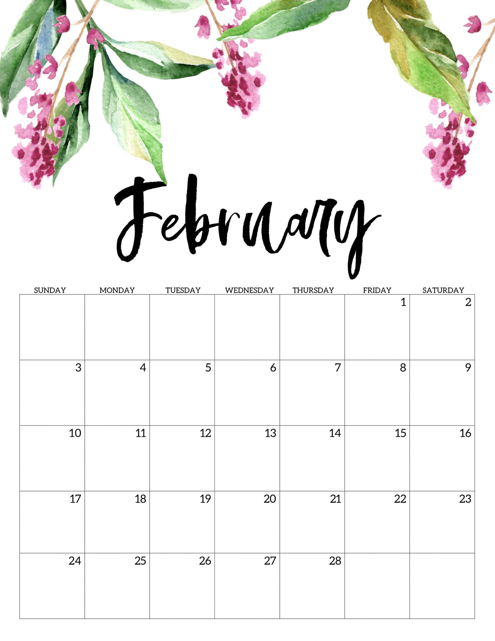 February 2019 Printable Calendar In Pdf Word Excel With Holidays