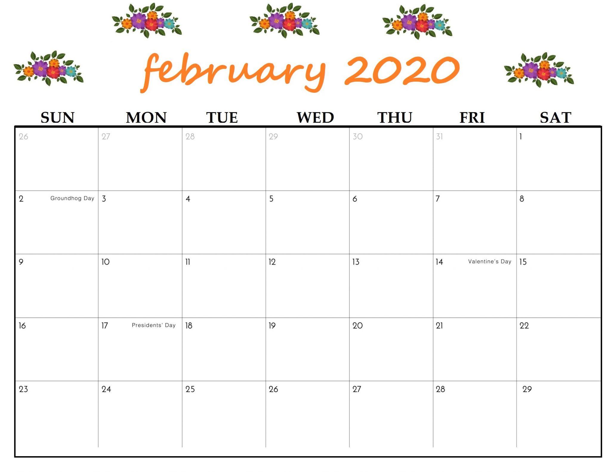Cute February 2020 Printable Calendar