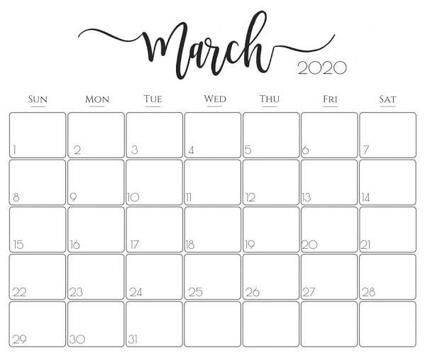 Cute march 2020 calendar schedule for new class