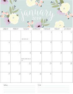 Desk Calendar For January 2019