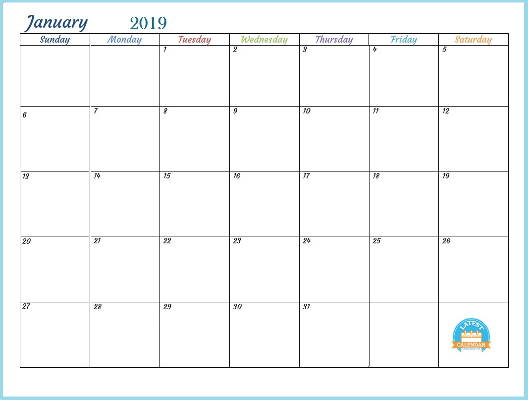 Editable Calendar January 2019