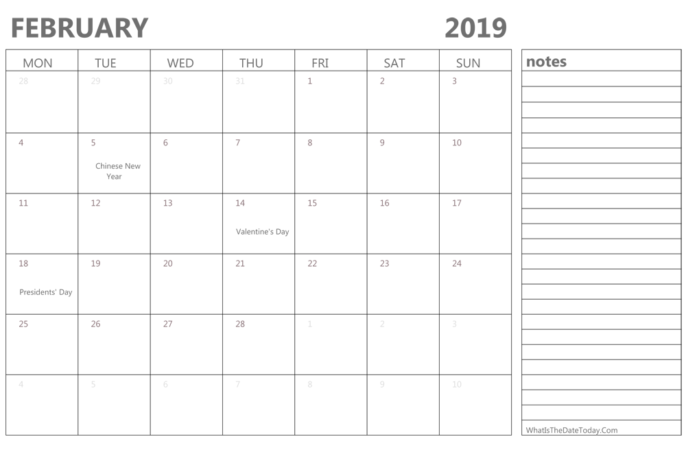 Editable February 2019 Calendar With Holidays