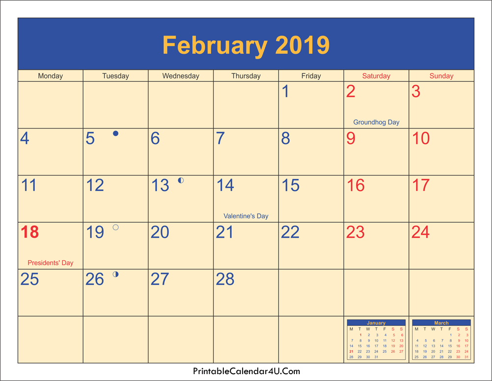 February 2019 Calendar Holidays With Moon Phases