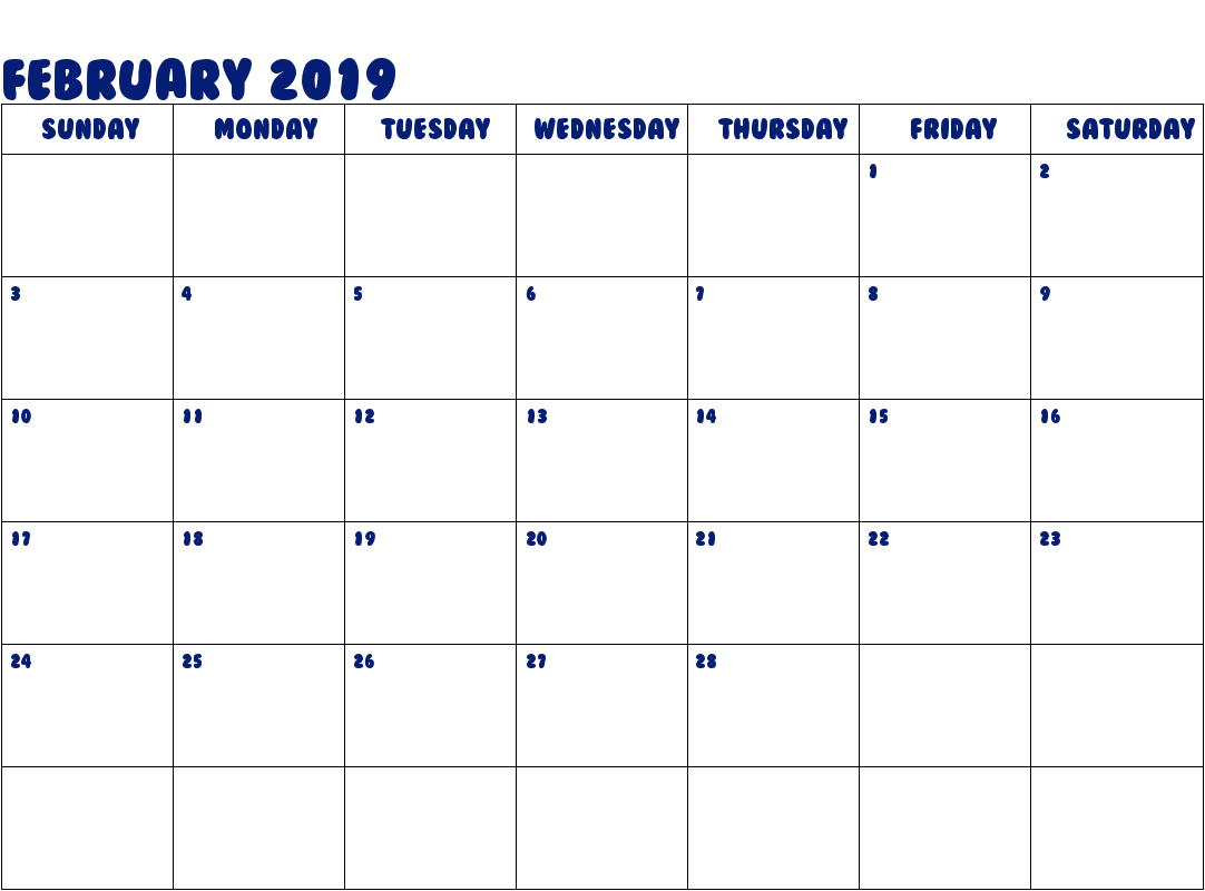 February 2019 Calendar Printable Template