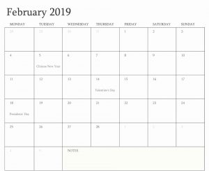 February 2019 Calendar Template With Holidays