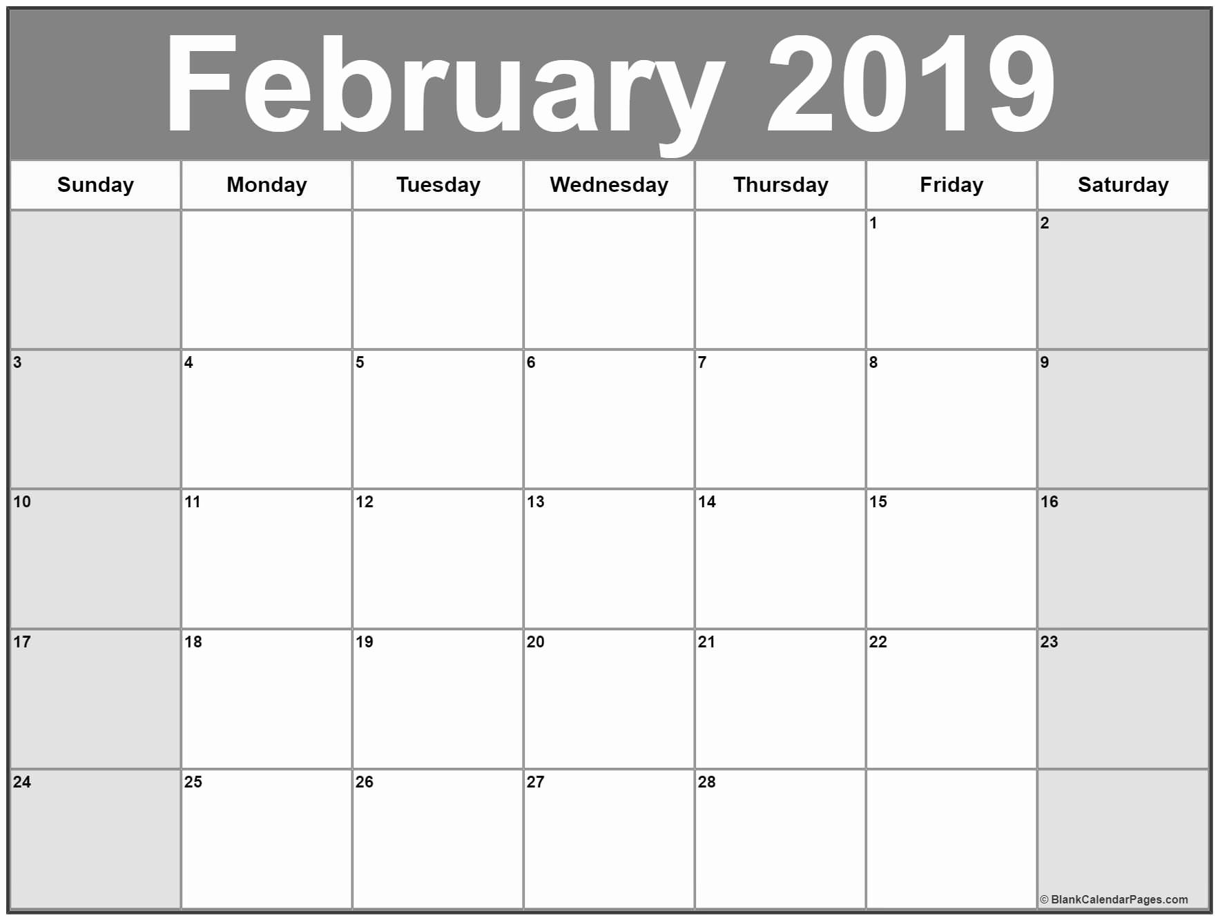 February 2019 Calendar Template Word