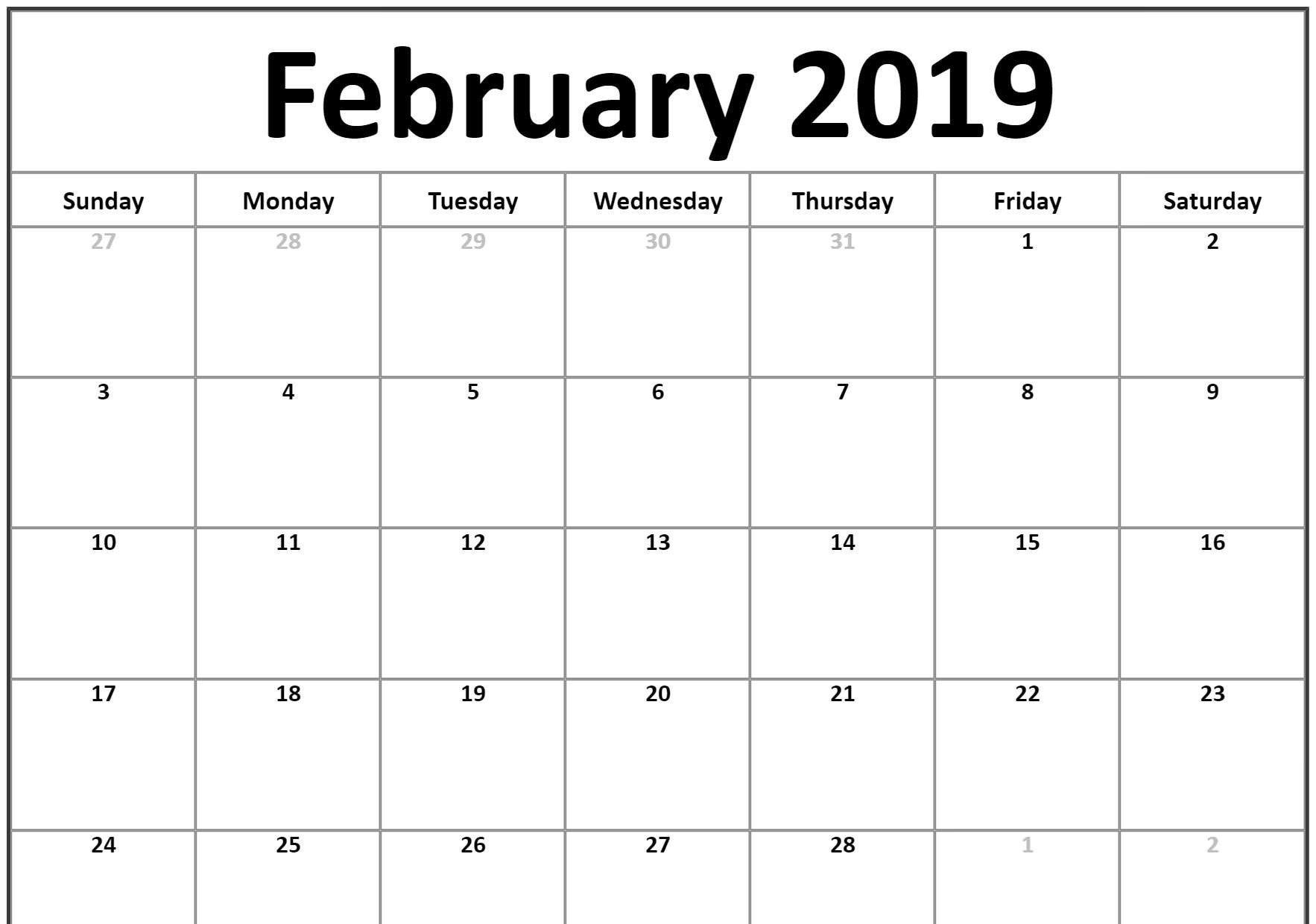 February 2019 Calendar Doc February 2019 Calendar Template   Free Printable Calendar
