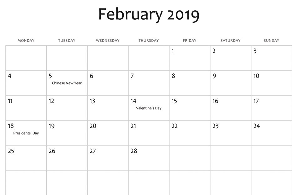 February 2019 Calendar With Holidays India