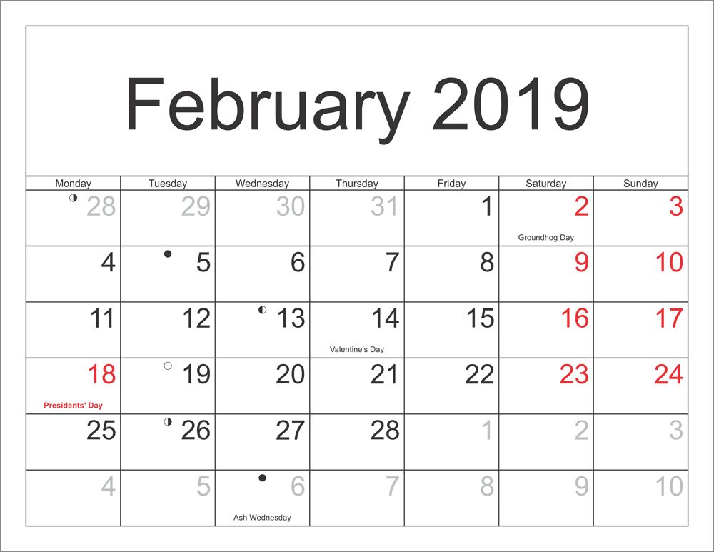 Calendar Holidays 2019 February 12 February 2019 Calendar With Holidays   Free Printable Calendar