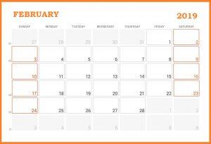 February 2019 Desk Calendar Template