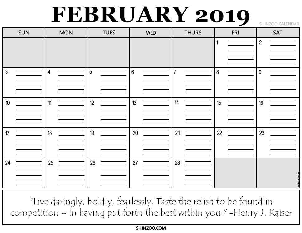 February 2019 Printable Calendar Planner