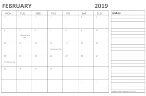 February 2019 Printable Calendar With Notes