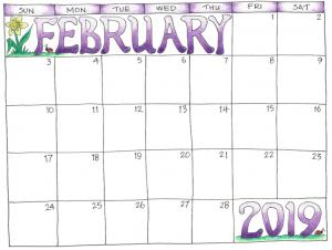 February 2019 Printable Calendar for Kids