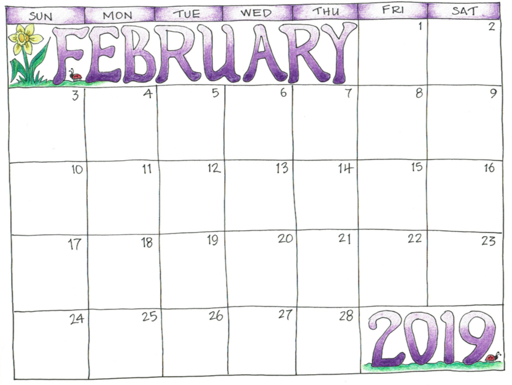 February 2019 Printable Calendar for Kids