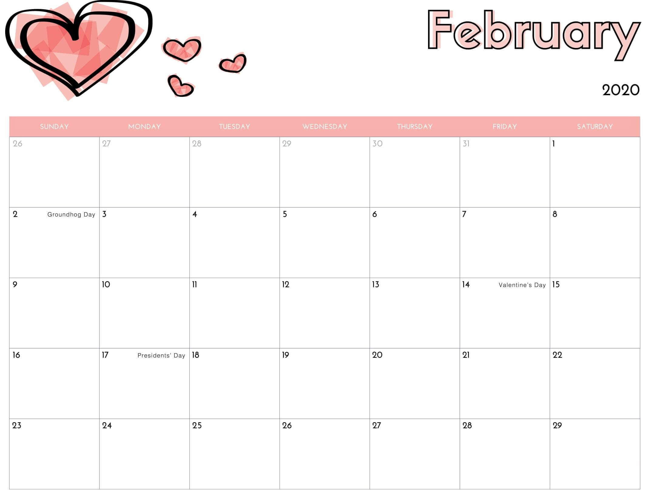 February 2020 Calendar US School Holidays