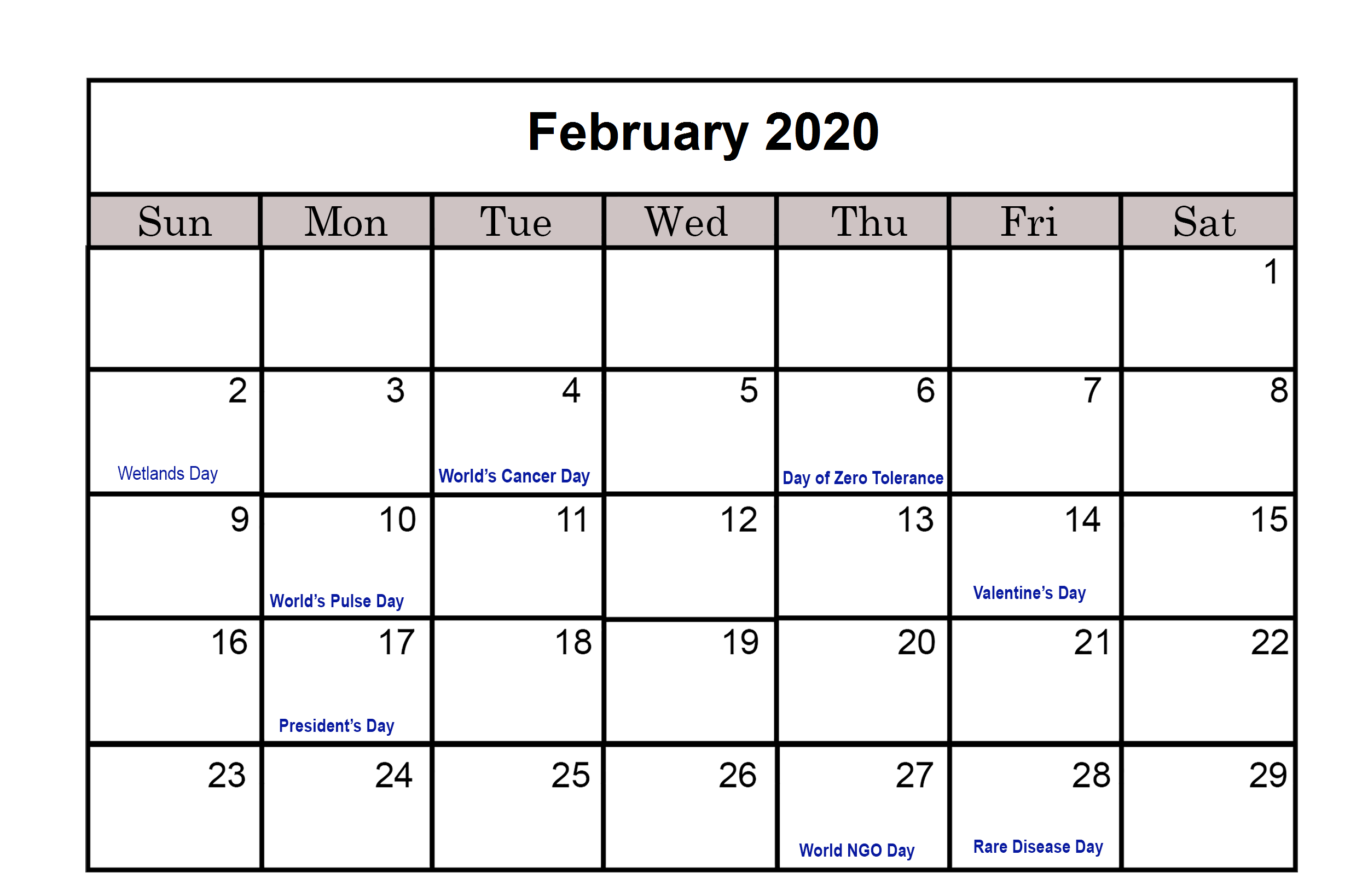 February 2020 Calendar With UK Holidays