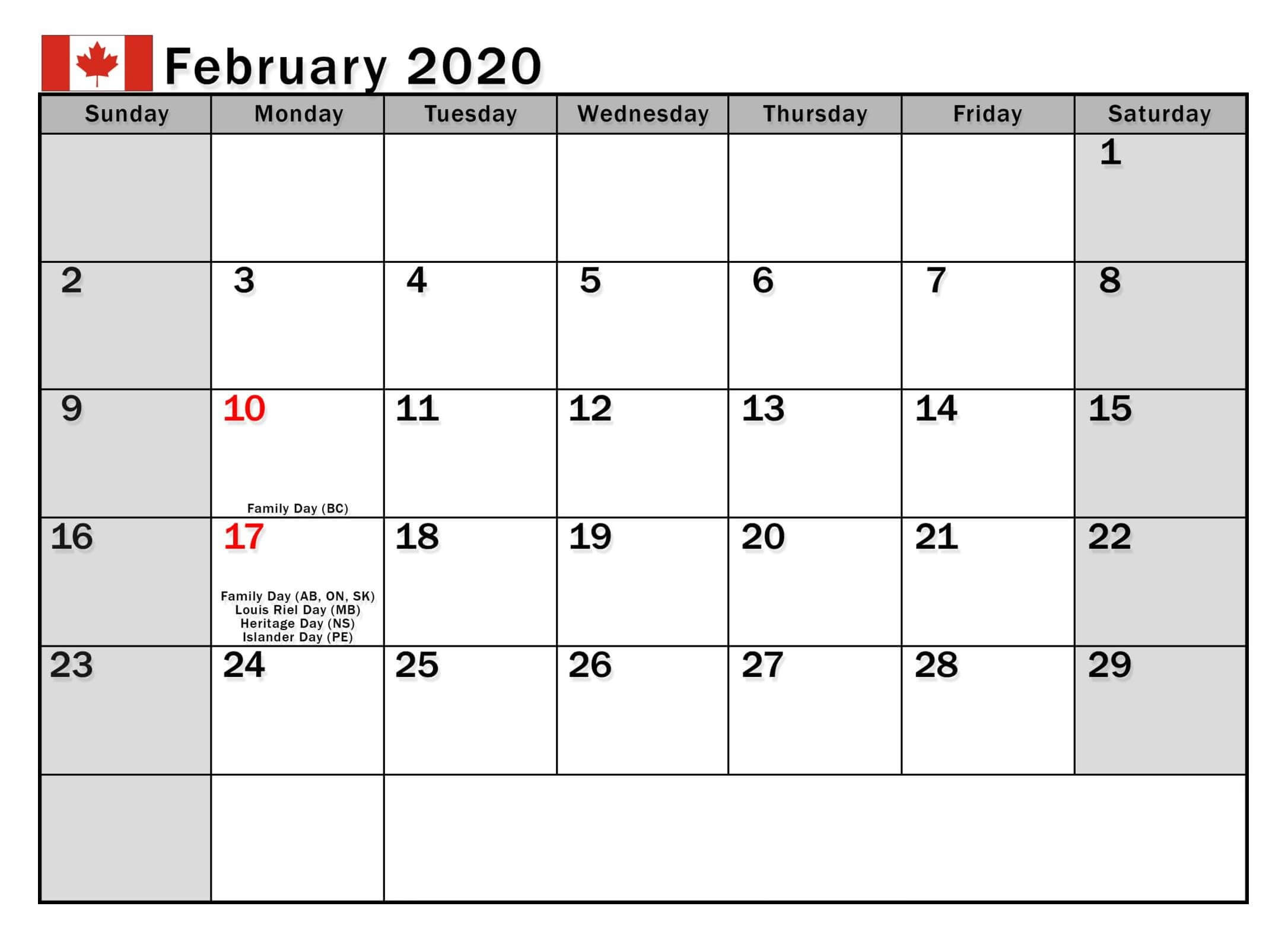 February 2020 Canada Calendar With Holidays