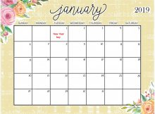 Floral Calendar January 2019 For Desktop