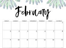 Floral February 2020 Printable Calendar