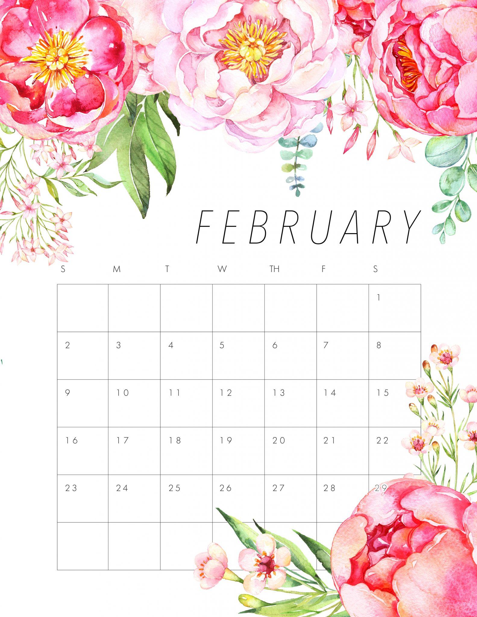 Floral February 2020 Wall Calendar