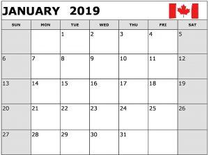 January 2019 Calendar Canada Printable