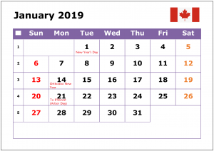 January 2019 Calendar Canada Public Holidays