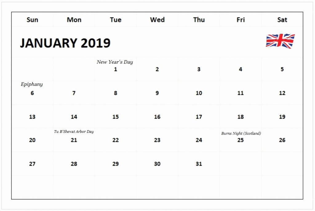 January 2019 Calendar Canada School Holidays