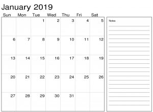 January 2019 Calendar PDF With Notes.