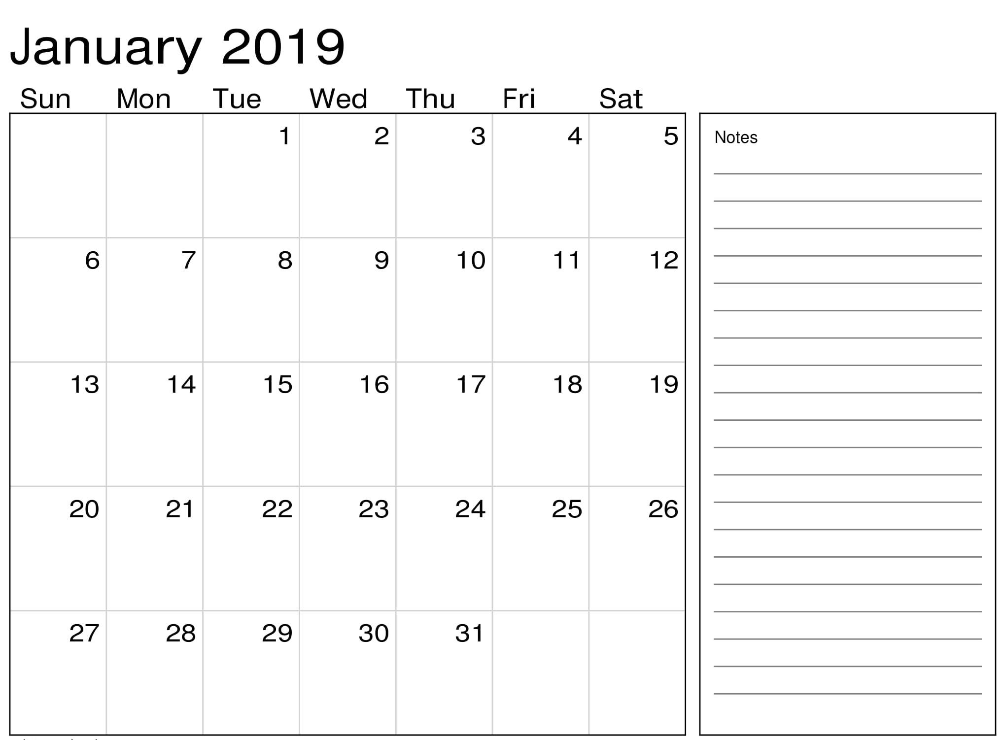 January 2019 Calendar PDF With Notes