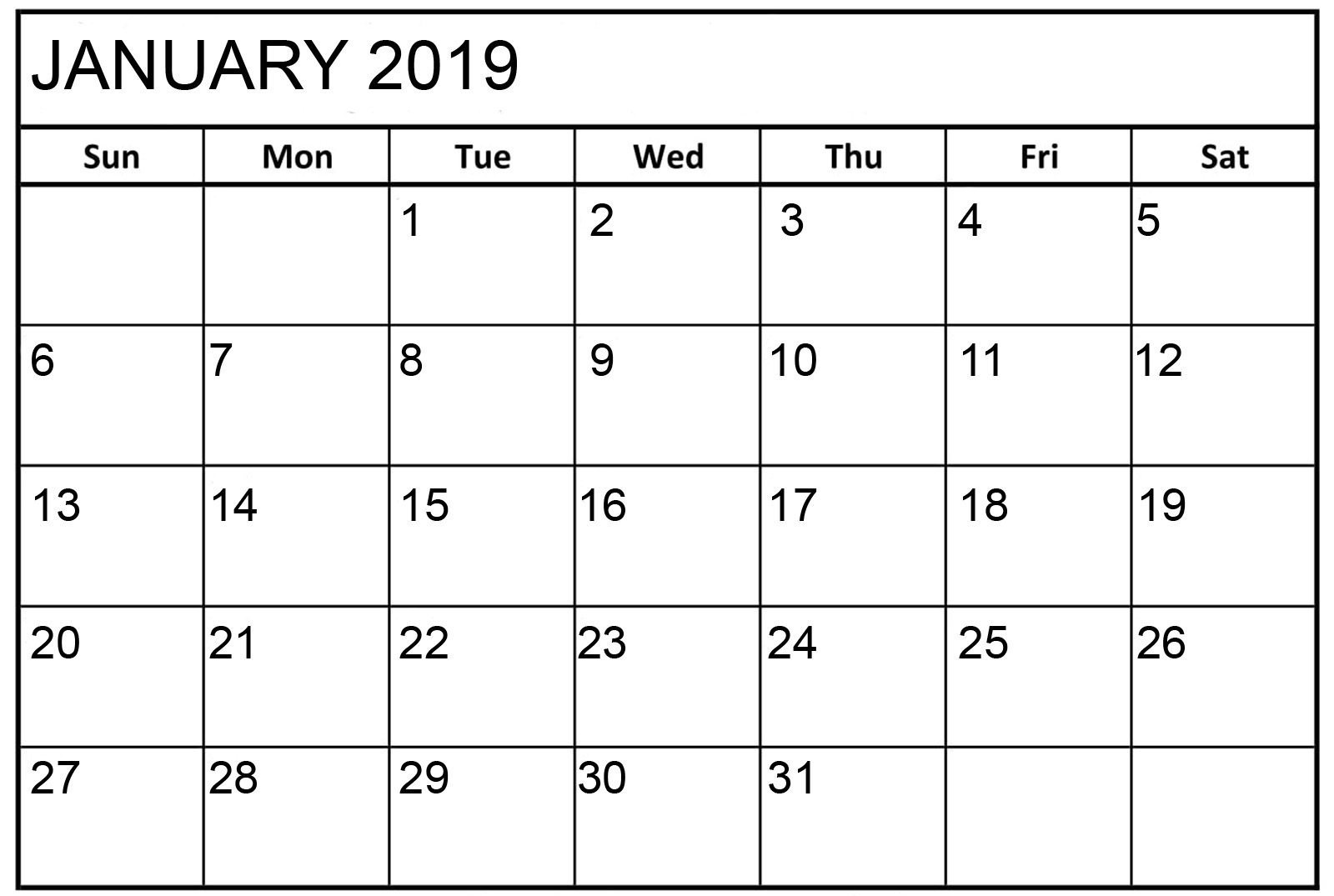 January 2019 Calendar Print Out