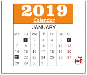 January 2019 Federal Holiday Canada Calendar