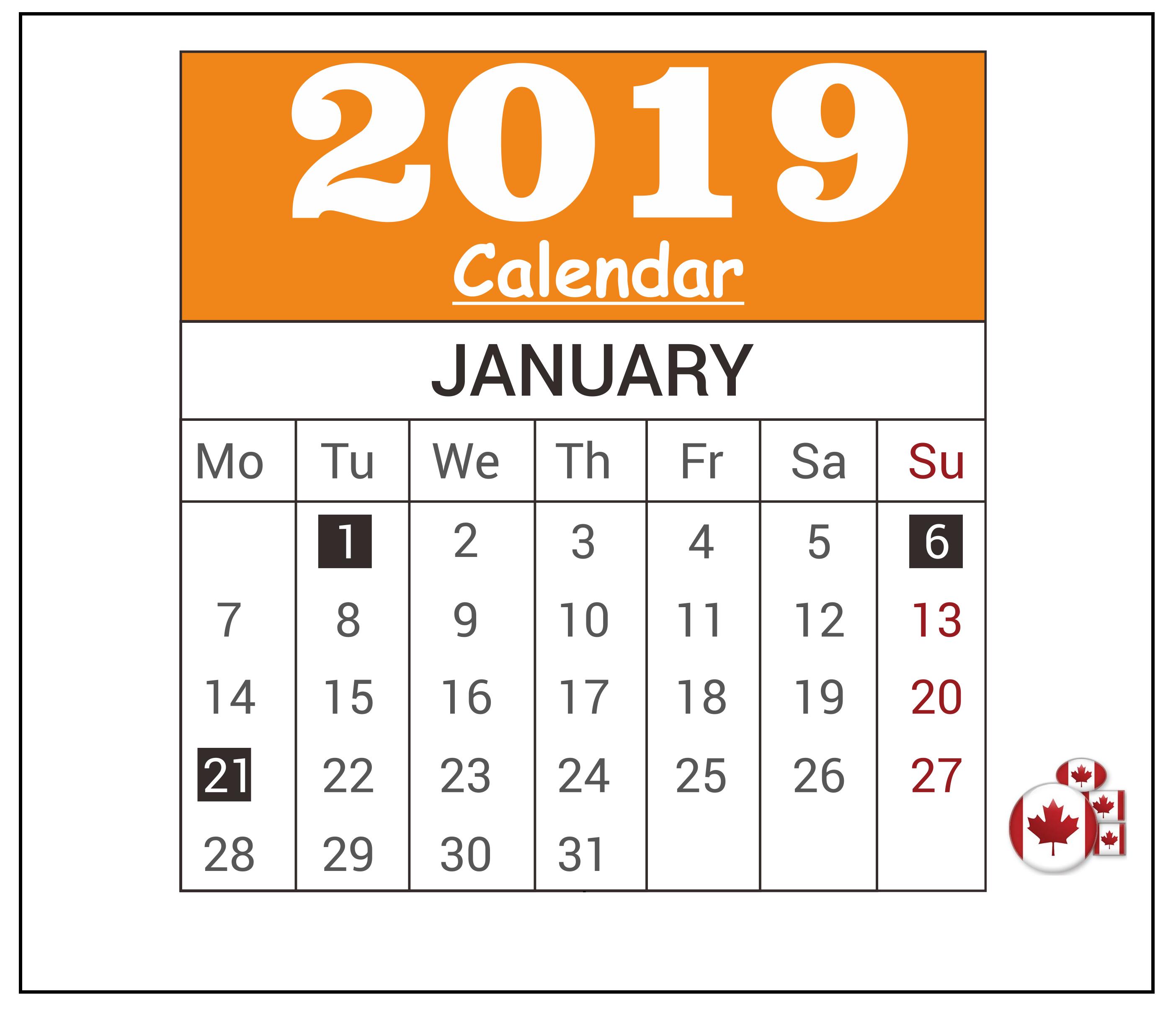 January 2019 Federal Holiday Canada Calendar