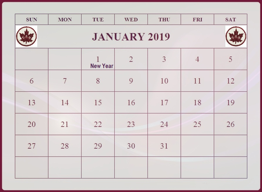 January 2019 International Holidays Canada