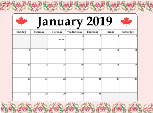 January 2019 Local Holiday Canada Calendar