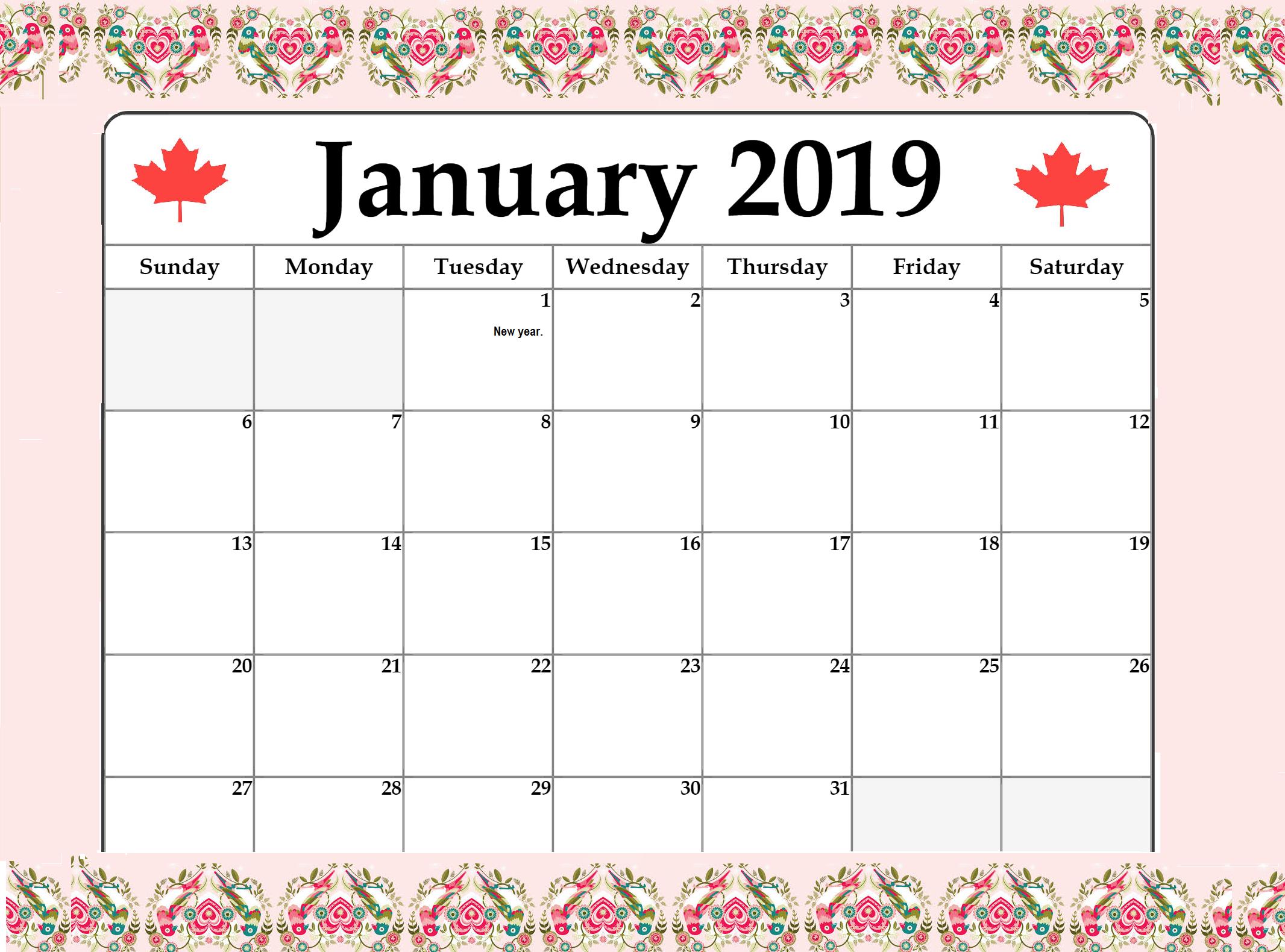 January 2019 Local Holiday Canada Calendar