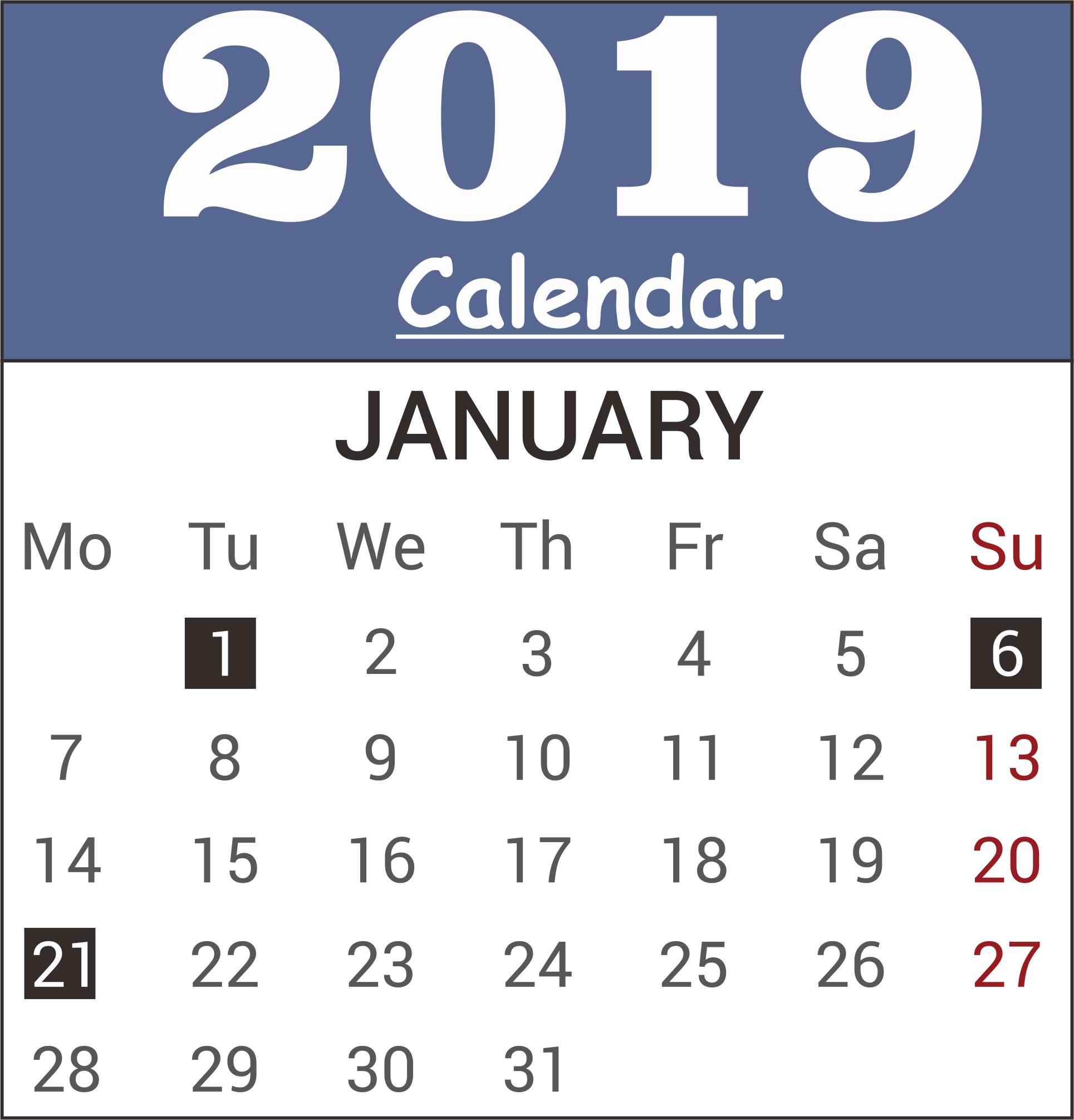 January 2019 PDF Desk Calendar