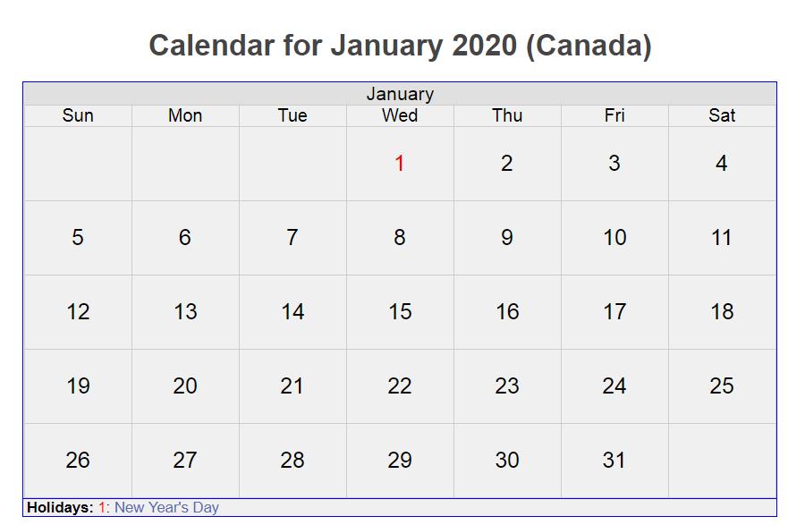January 2020 Canada Holidays Calendar